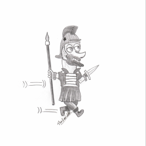 Roman soldier with weapons